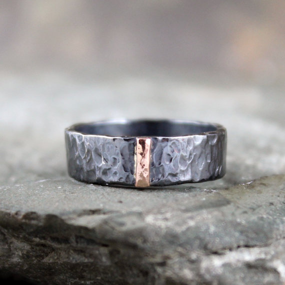 14K Rose Gold And Black Sterling Silver Band