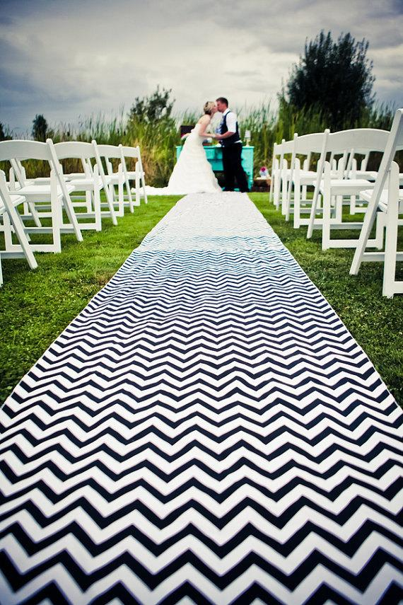 Mariage - Special of the week Black and White chevron Aisle runner