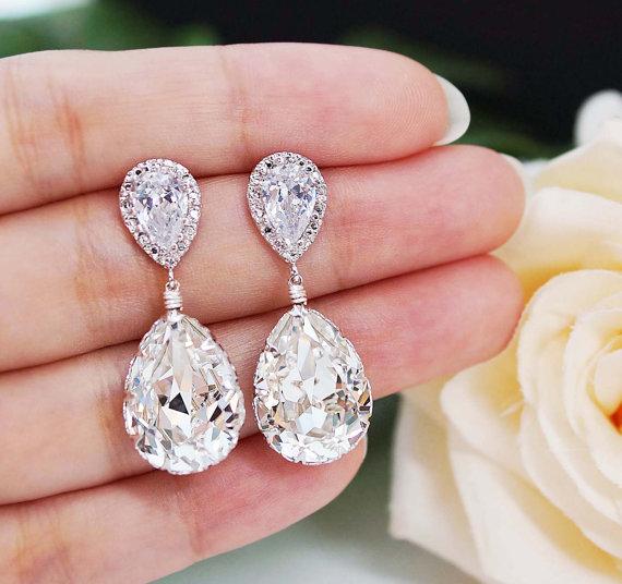 Mariage - Wedding Jewelry Bridal Earrings Bridesmaid Earrings Dangle Earrings Clear White Swarovski Crystal Tear drop Earrings