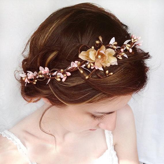 Свадьба - wedding hair accessories, pink flower hair circlet, gold flower hair accessory, wedding headpiece - SERAPHIM - bridal flower hair wreath