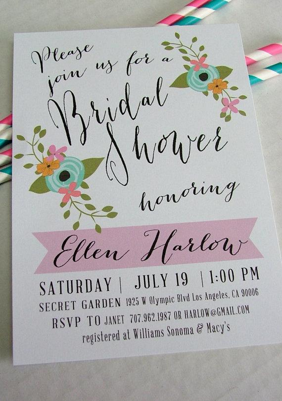 printable bridal shower invitation ellen diy floral and pink handwritten look wedding shower invite