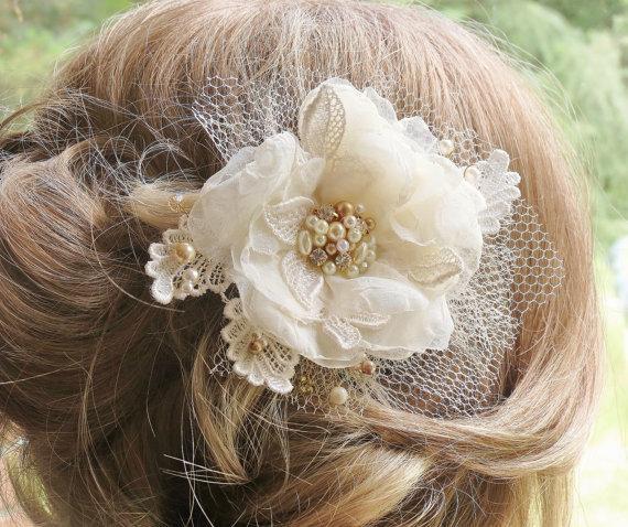 Mariage - Champagne Hair Flower, Hair Accessory, Bridal Hair Flower Clip, Wedding Hair Piece, Gold Pearl Rhinestone Tulle Lace Hair Flower