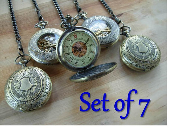 Wedding - Set of 7 Gold Pocket Watches Engravable Personalized Groomsmen Gift Ships from Canada