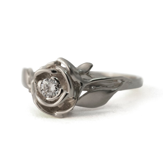 Rose Engagement Ring No 3 18K White Gold And Diamond Engagement