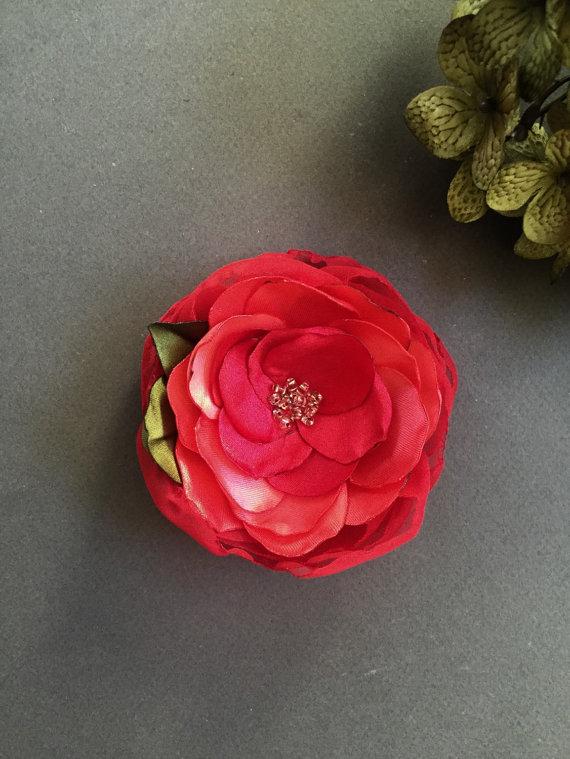زفاف - Poetic Red Rose Large Flower brooch corsage pin Flower for dress sash clutch Prom Wedding Handmade Flower
