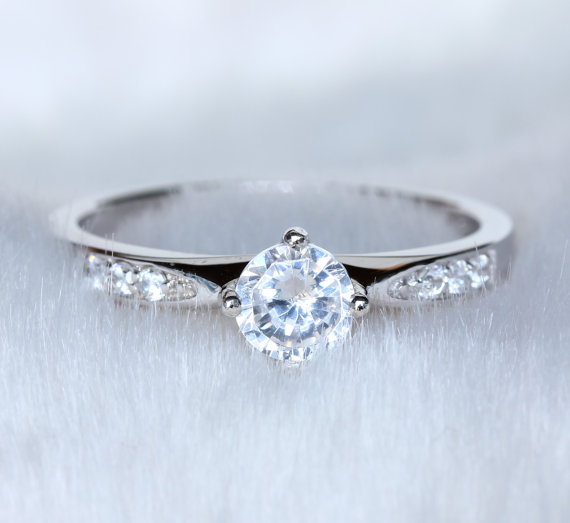 Sterling Silver And Natural White Sapphire Solitaire Ring Engagement Ring