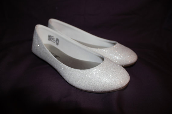Mariage - White Glitter Bridal Shoes - Wedding Flats - True White