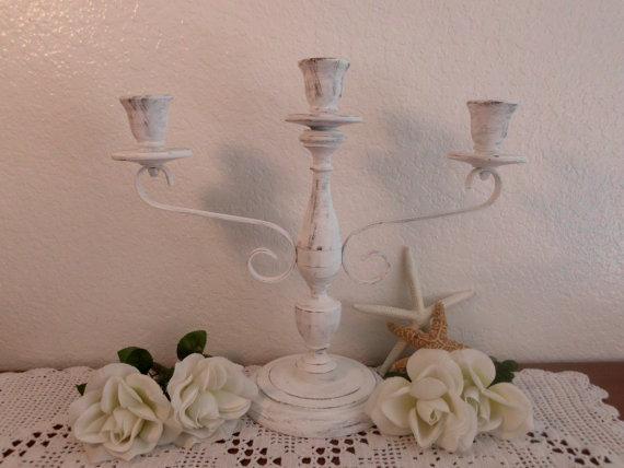 زفاف - Wedding Unity Candle Holder White Shabby Chic Large Tall Rustic Candelabra Ornate Scrolled Spring Summer Fall Autumn Winter Decoration