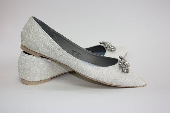 Mariage - Wedding Shoes - Lace - Flats - Lace Wedding Shoes - Crystals - Wedding Flats - Shoes - Crystals -  Downton Abby - Vintage Shoe - Parisxox