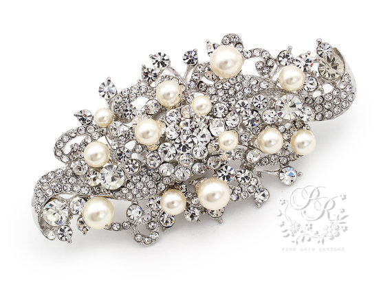 Wedding - Wedding Brooch Swarovski Pearl Rhinestone Brooch Bridal Brooch Wedding Accessory Bridal Jewelry Wedding Jewelry Sash Clutch Comb ribbon Ivy