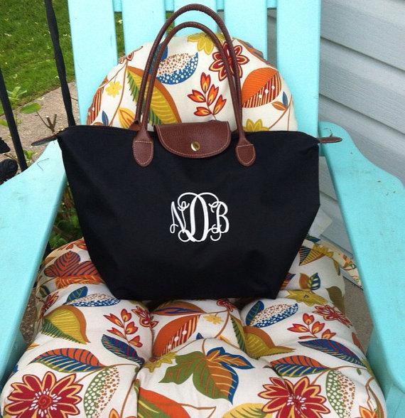 Свадьба - Medium Sized Monogram Champ Tote Bag - Monogrammed Nylon Handbag- Makes a great bridesmaid gift, bridal party gift