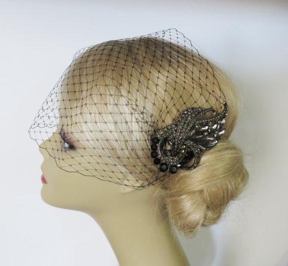 Hochzeit - Birdcage Veil  and a Black Bridal Hair Comb (2 Items)  black veil  black comb Rhinestone Bridal Hair Comb  Weddings  Silver  Rinestone