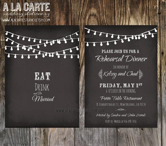 زفاف - String Light Chalkboard Inspired Wedding Rehearsal Dinner Invitation Card Design fee
