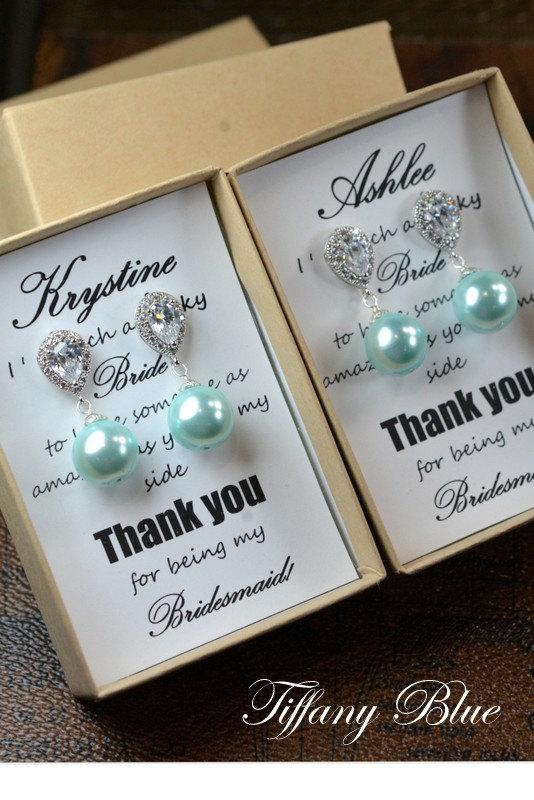 زفاف - Tiffany blue aqua , mint green,Wedding Jewelry Bridesmaid Gift Bridesmaid Jewelry Bridal Jewelry Pearl Drop Earrings Cubic Zirconia Earrings