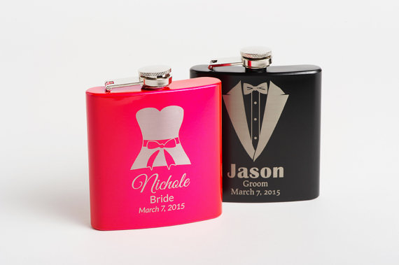 Свадьба - Flasks, Personalized Groomsmen Flasks, Bridesmaid Flasks, Engraved Groomsmen Gifts, Bridesmaid Gift