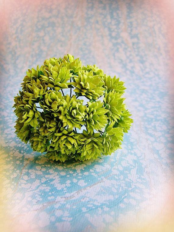 زفاف - Chartreuse green Dahlias Vintage style Millinery Flower Bouquet - for decorating, gift wrapping, weddings, party supply, holiday