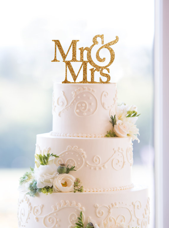 Glitter Mr And Mrs Wedding Cake Topper In Your Choice Of Glitter ...