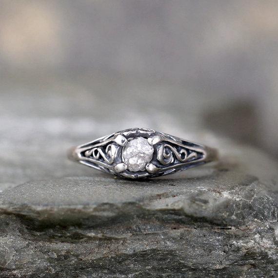 Свадьба - Antique Style Rough Diamond Engagement Ring - Raw Uncut Rough Diamond Gemstone and Dark Sterling Silver Filigree Ring  - April Birthstone
