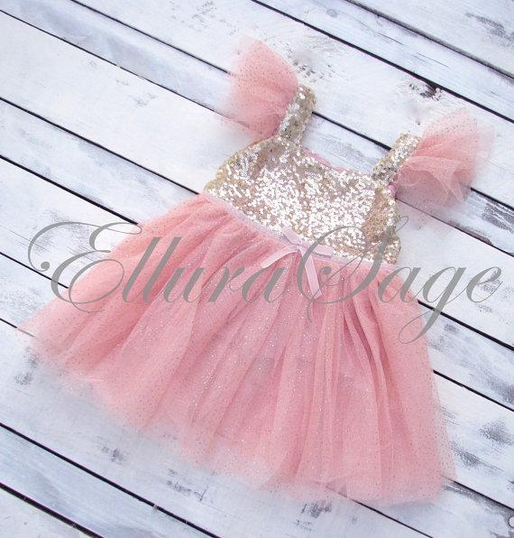 Свадьба - Flower Girl Dress, Pink Flower Girl Dress, Sparkle Dress Girls, Blush Flower Girl Dress,  Baby Girl Party Dress, Pink Sparkle Princess Dress