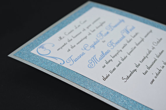 Свадьба - Stunning Blue & Silver Glitter Wedding Invitation Full of Bling, Sparkle, and Dazzle