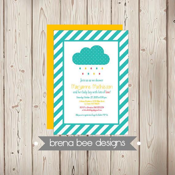 زفاف - Instant Download - Rain Cloud - Shower with Love - Teal Stripes - Birthday/Wedding/Shower Invitation, Custom Printable