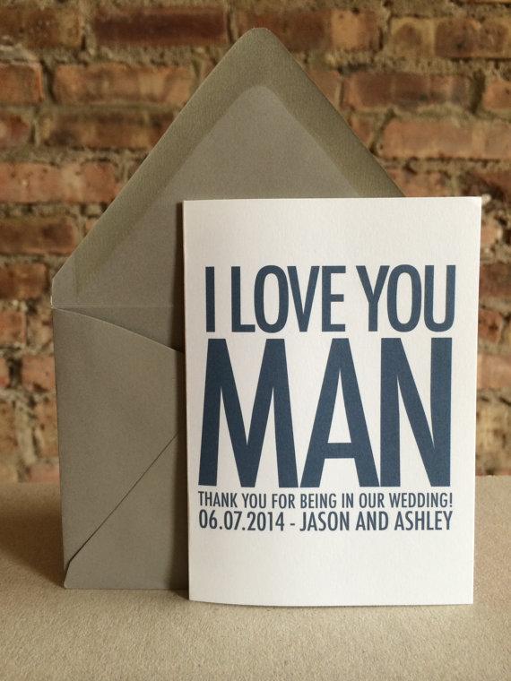Groomsmen Best Man Thank You Card I Love