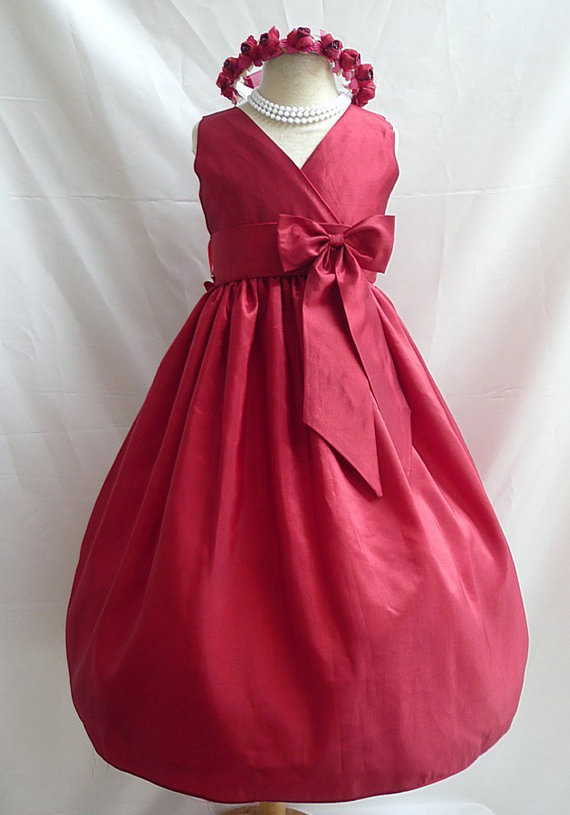 Flower Girl Dress - Red Apple V-Neck Dress With Red Apple ...