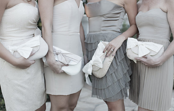 Mariage - Ivory wedding clutch, Nude and blush wedding, Bridal clutches, Clutch set, Bridesmaids gifts, Wedding gift, Foldover clutch, Envelope clutch