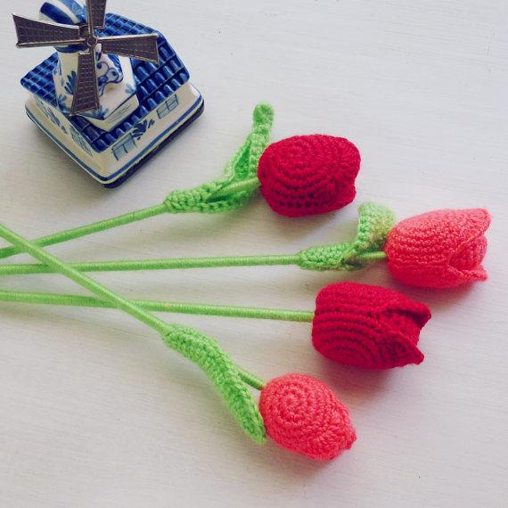 Mariage - PDF Crochet Flower Tulip Pattern  - Easy crochet - flower wedding perfect bouquet - home vase arrangement - Instant DOWNLOAD