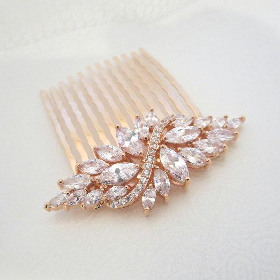 Wedding - Rose Gold Bridal hair comb, Wedding hair comb, Crystal hair comb, Bridal headpiece, Hair clip, Hair pin, Rhinestone hair accessory