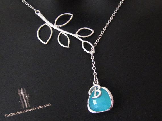 Hochzeit - SALE 10% OFF: Personalized necklace, initial necklace, bridesmaid necklace, branch necklace, gift, wedding jewelry, lariat necklace