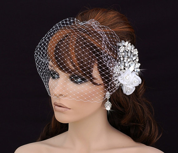 Свадьба - Birdcage Veil and Comb , Bird Cage Veil , Blusher , Bridal Comb ,  Wedding Comb , Bridal Hair Accessory , Crystal Bachelorette Veil