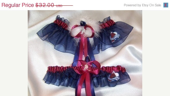 Wedding - ON SALE COLORADO Avalanche Inspired Wedding Garter Set bridal lingerie with Marabou Pouf