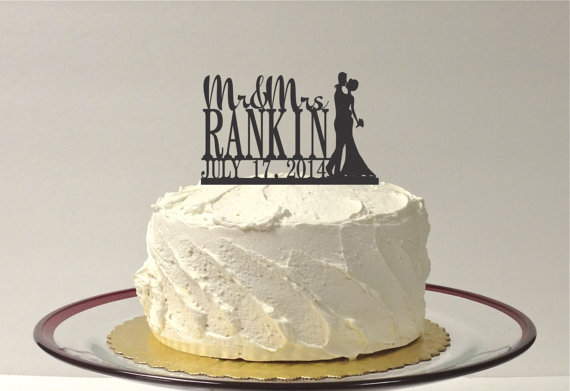 Wedding - CUSTOM Wedding Cake Topper with Bride and Groom Silhouette Personalized Mr and Mrs Topper YOUR Last Name + Date Custom Wedding Topper