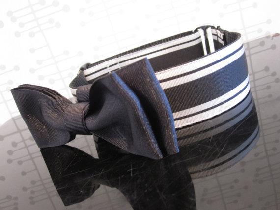 """Свадьба - Black Tie Extravaganza.  1 1/2"""" Black and White Stripe with Tuxedo Bow Tie Dog Collar"""