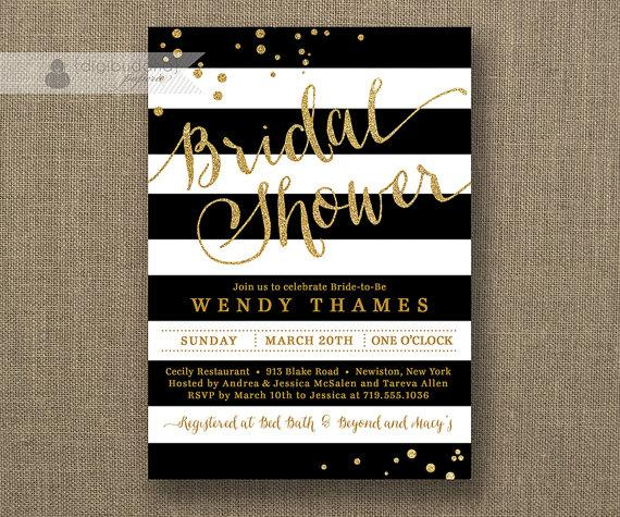 Black white stripe bridal shower invitation gold glitter dots black white stripe bridal shower invitation gold glitter dots modern script classic free priority shipping or diy printable wendy filmwisefo