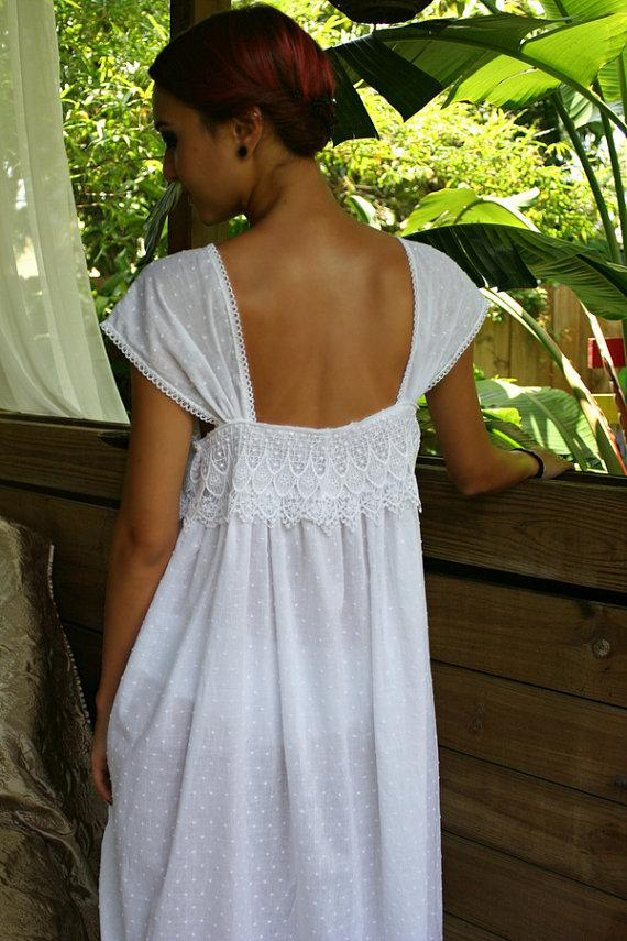 Wedding - Limited Edition White Cotton Nightgown Dotted Swiss Cotton Batiste Peacock Lace Caplet Sleeve Lingerie Sleepwear