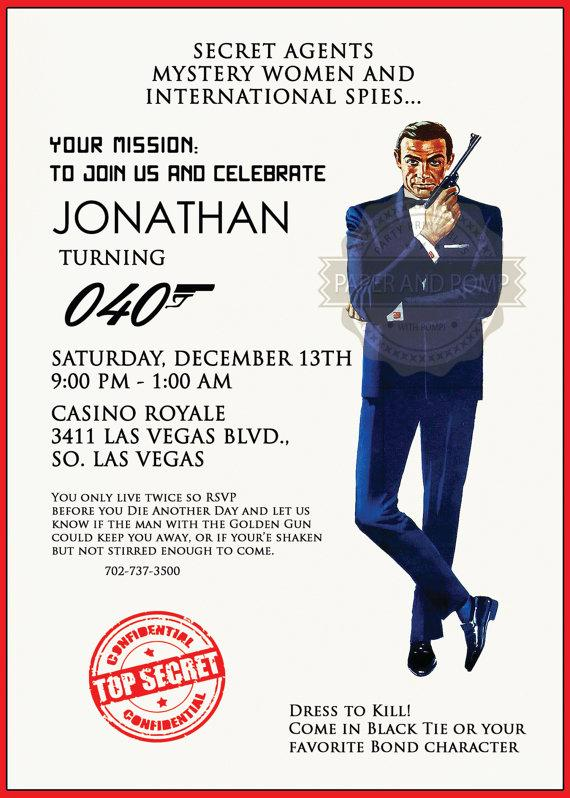 James bond 007 birthday bachelor casino poker top secret agent james bond 007 birthday bachelor casino poker top secret agent mission party invitation filmwisefo
