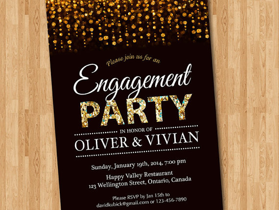 engagement party invitation engagement dinner invite glitter gold