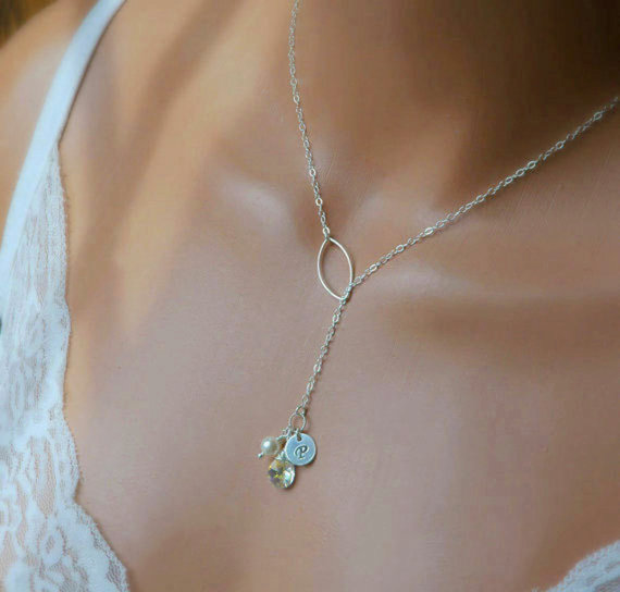 Personalized Mothers Necklace Birthstone And Initial Bridesmaid Jewelry Sterling Silver Lariat Bridal Custom