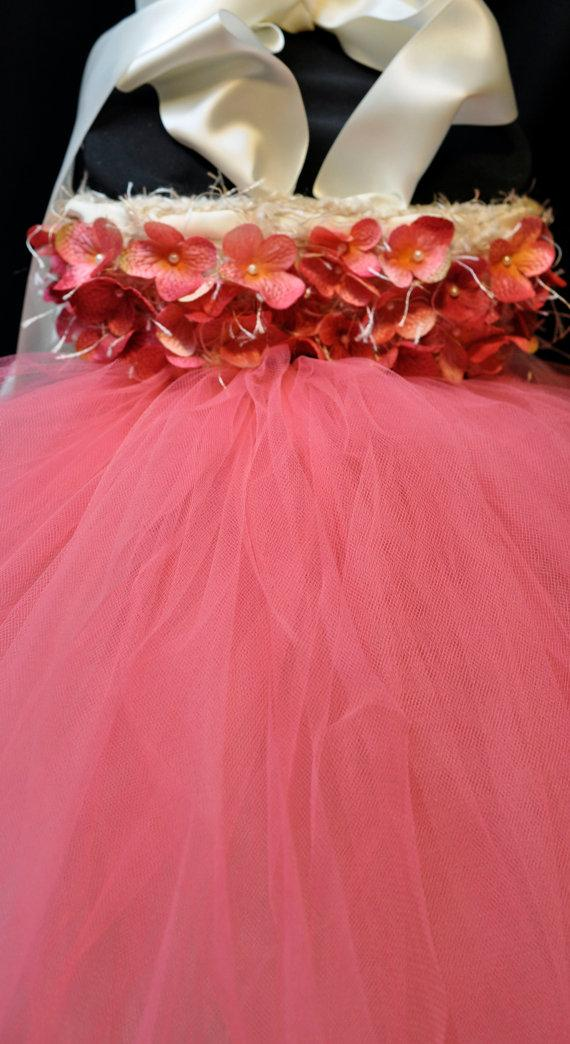 Mariage - Coral Flower Girl Dress