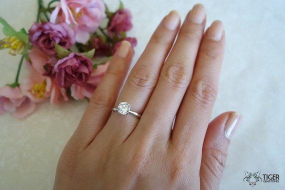 1 carat engagement ring man made diamond 4 prongs wedding ring bridal promise ring sterling silver 14k gold option