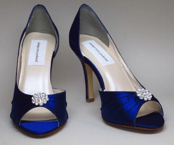 Mariage - SALE Wedding Shoes -- Sapphire Blue Heels with Rhinestone Adornment - Choose Your Own Color!