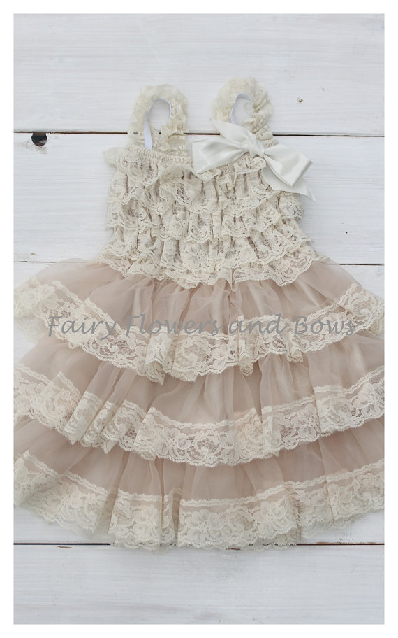 Champagne Rustic Lace Chiffon Dress Shabby Chic Flower Girl Wedding Infant Toddler Child