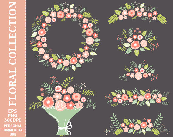 Wedding - BUY 2 GET 1 FREE! Digital Pastel Floral Collection Clip Art - Wreath, Flowers, Bouquet, Wedding, Bunch Clip Art. Commercial and Personal use