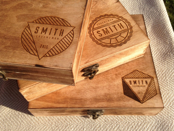 Groomsmen gift box personalized cigar box engraved for Cigar box wedding invitations