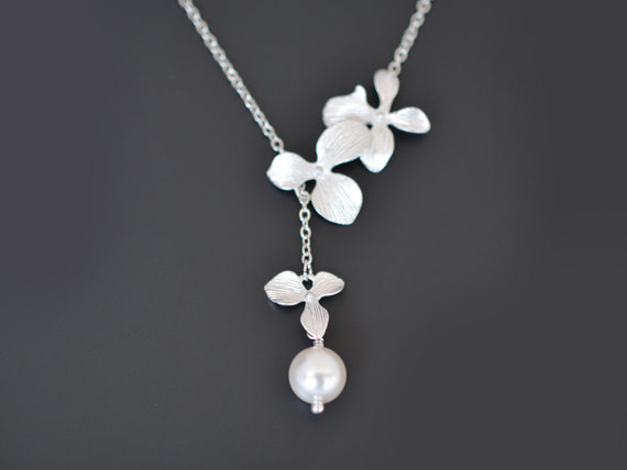 Свадьба - SALE, Orchid necklace,Flower necklace,Pearl necklace,Silver necklace,Lariat necklace,Wedding jewelry, Bridal necklace, Anniversary