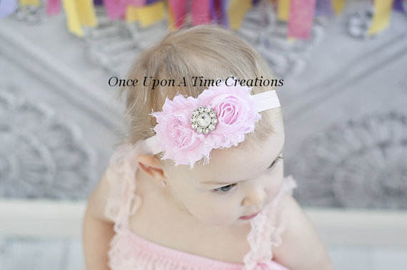 Light pink shabby chic flower headband easter pastel photo prop light pink shabby chic flower headband easter pastel photo prop hairbow newborn girl little girls hair bow baby shower gift negle Image collections