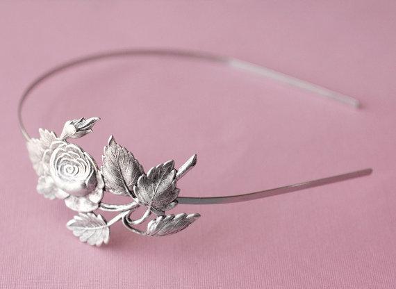 Wedding - Rose headband vintage style silver finish antique bridal floral bridesmaid hair accessory wedding garden Victorian
