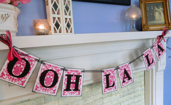 Wedding - Bridal Shower Decorations-Ooh La La Banner-Lingerie Party Sign or Bachelorette Party Banner Can Be Customized in your Shower Colors